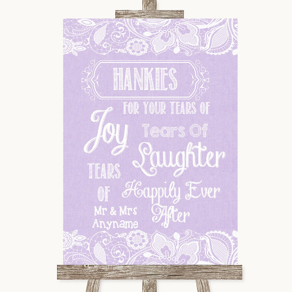 Lilac Burlap & Lace Hankies And Tissues Personalised Wedding Sign