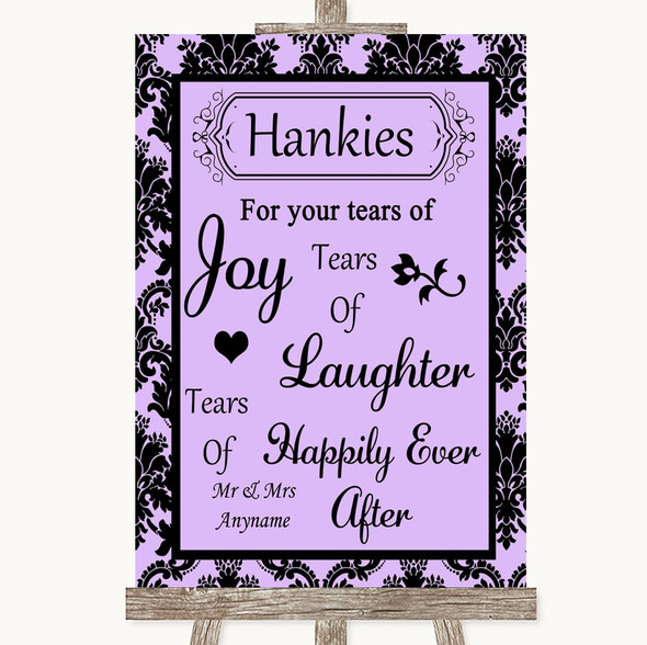 Lilac Damask Hankies And Tissues Personalised Wedding Sign