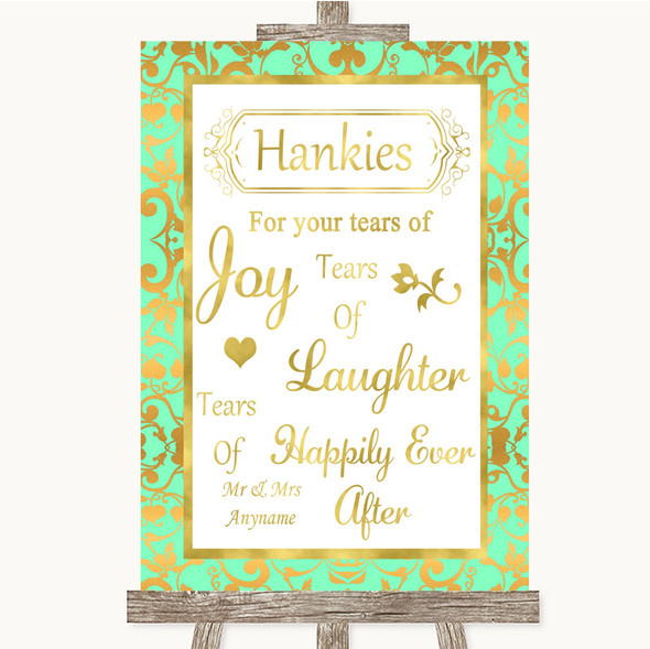 Mint Green & Gold Hankies And Tissues Personalised Wedding Sign