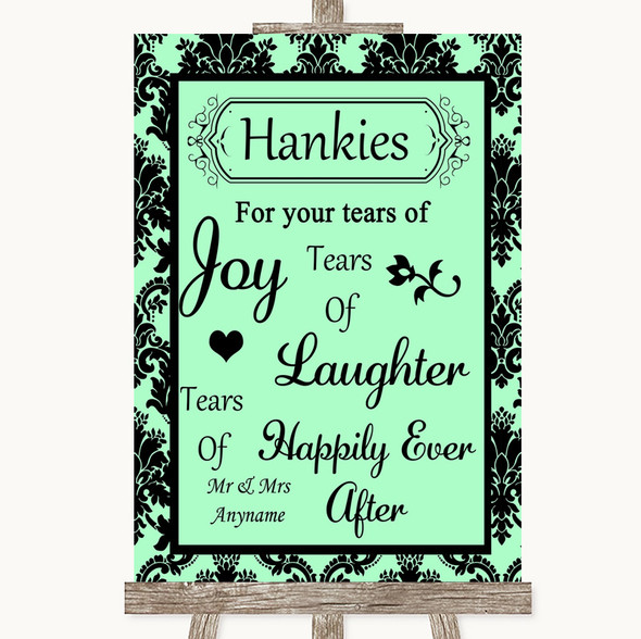 Mint Green Damask Hankies And Tissues Personalised Wedding Sign