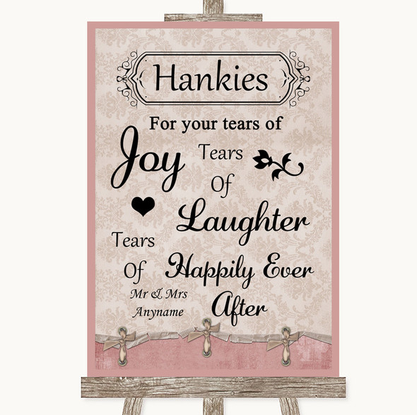 Pink Shabby Chic Hankies And Tissues Personalised Wedding Sign