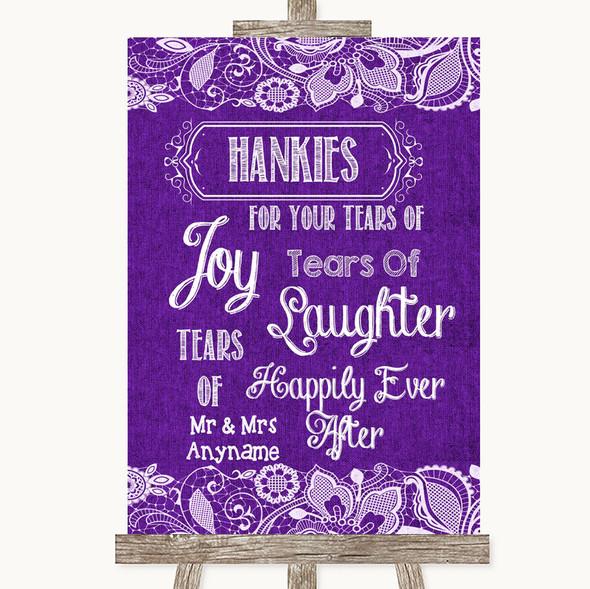 Purple Burlap & Lace Hankies And Tissues Personalised Wedding Sign