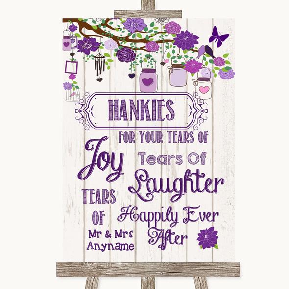Purple Rustic Wood Hankies And Tissues Personalised Wedding Sign