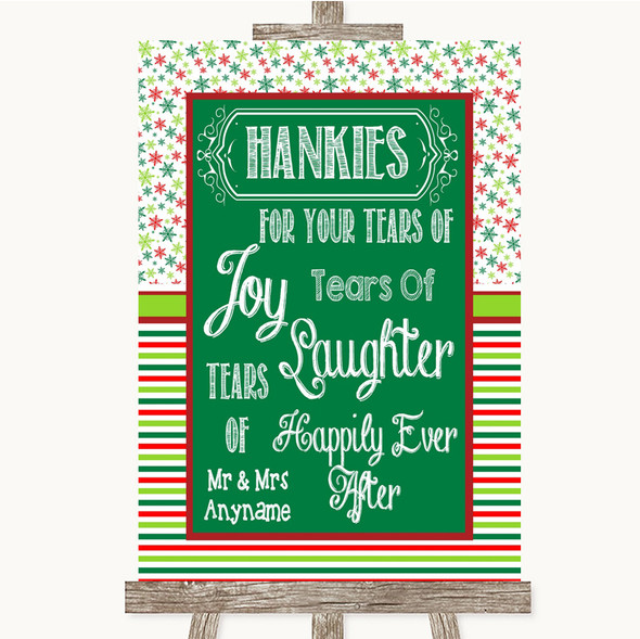 Red & Green Winter Hankies And Tissues Personalised Wedding Sign