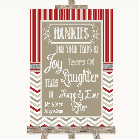 Red & Grey Winter Hankies And Tissues Personalised Wedding Sign