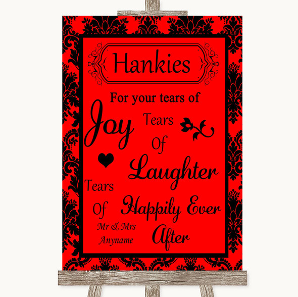 Red Damask Hankies And Tissues Personalised Wedding Sign