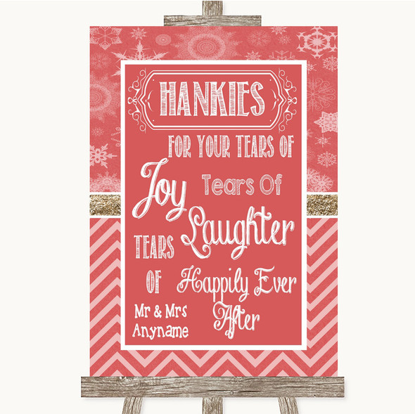Red Winter Hankies And Tissues Personalised Wedding Sign