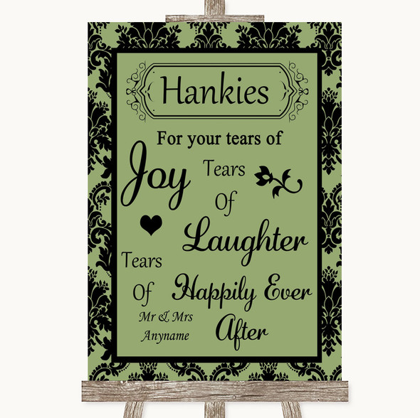Sage Green Damask Hankies And Tissues Personalised Wedding Sign