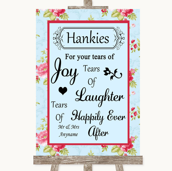 Shabby Chic Floral Hankies And Tissues Personalised Wedding Sign