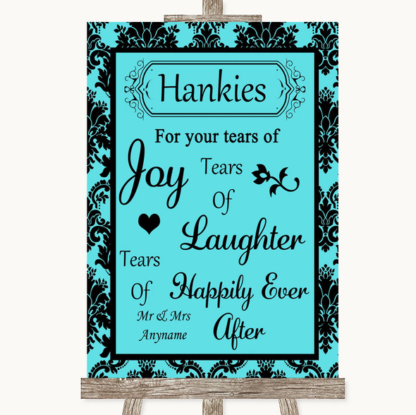 Tiffany Blue Damask Hankies And Tissues Personalised Wedding Sign