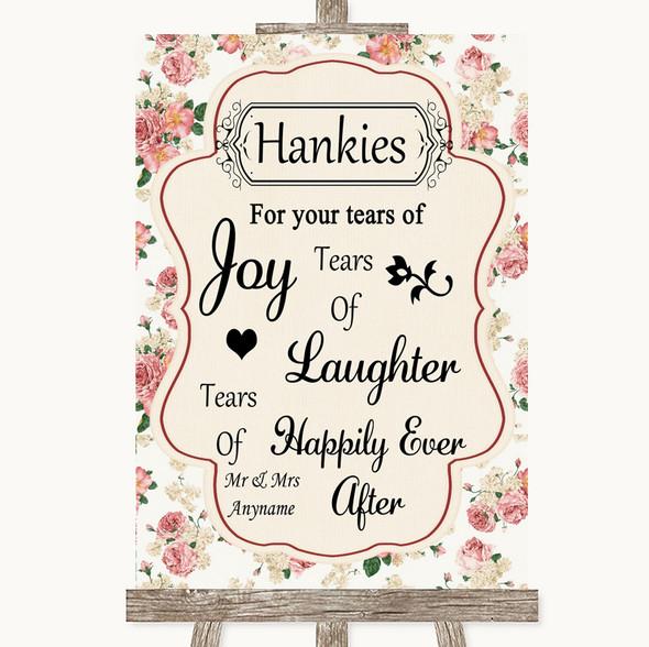 Vintage Roses Hankies And Tissues Personalised Wedding Sign