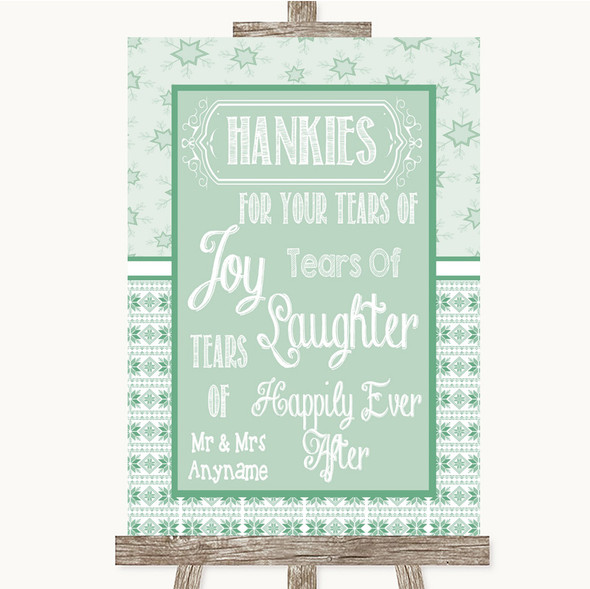Winter Green Hankies And Tissues Personalised Wedding Sign
