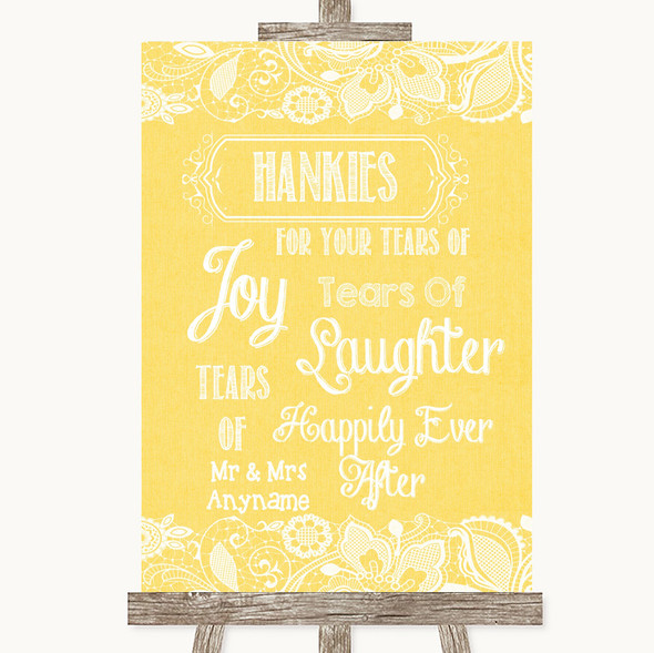 Yellow Burlap & Lace Hankies And Tissues Personalised Wedding Sign