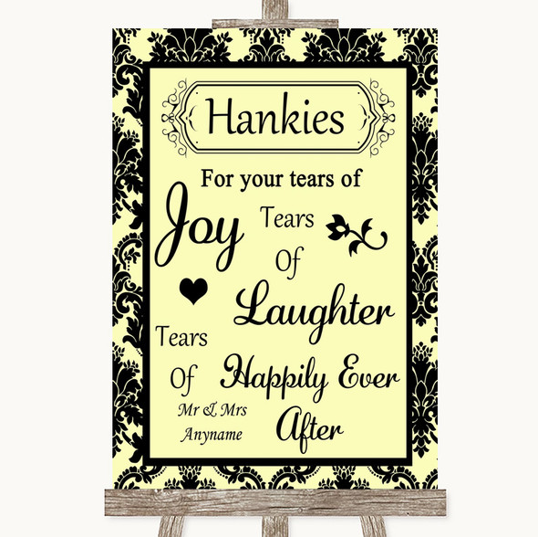 Yellow Damask Hankies And Tissues Personalised Wedding Sign