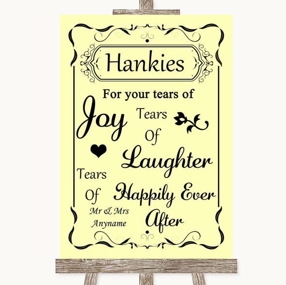 Yellow Hankies And Tissues Personalised Wedding Sign