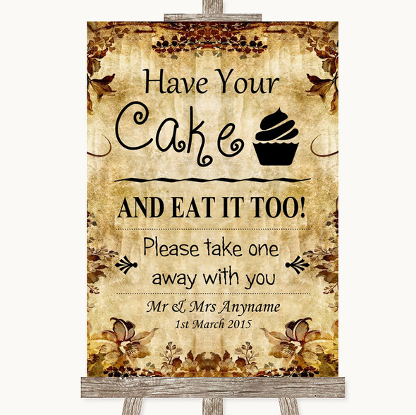Autumn Vintage Have Your Cake & Eat It Too Personalised Wedding Sign
