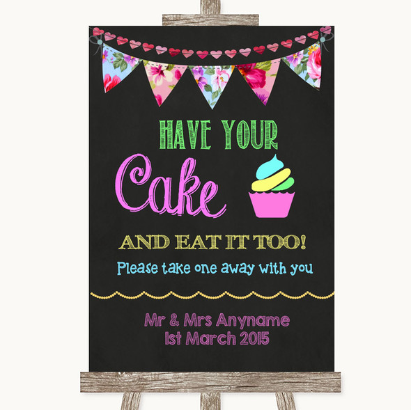 Bright Bunting Chalk Have Your Cake & Eat It Too Personalised Wedding Sign