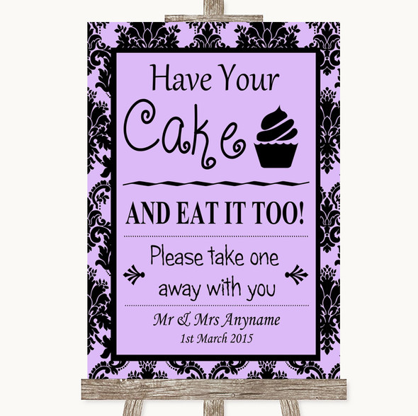 Lilac Damask Have Your Cake & Eat It Too Personalised Wedding Sign