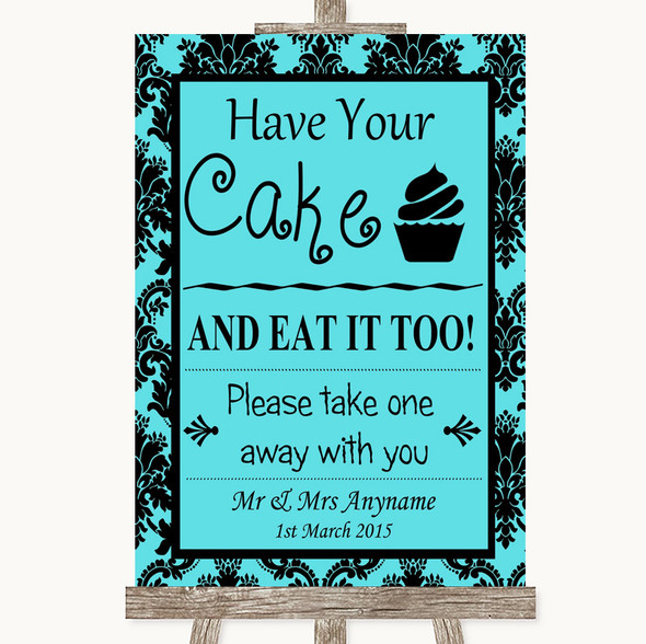 Tiffany Blue Damask Have Your Cake & Eat It Too Personalised Wedding Sign