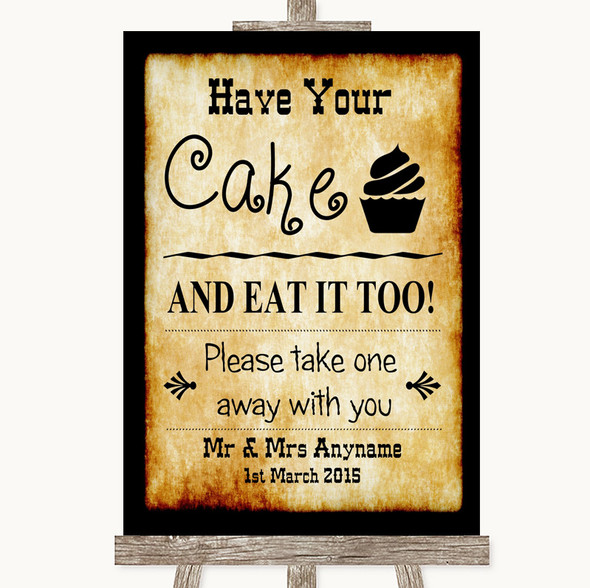 Western Have Your Cake & Eat It Too Personalised Wedding Sign