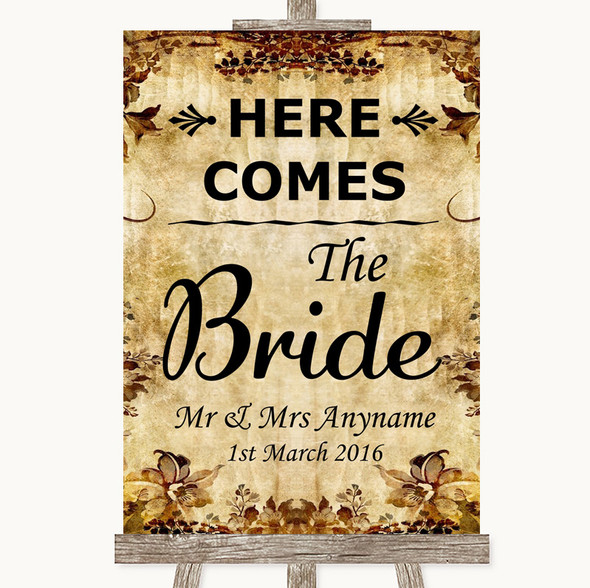 Autumn Vintage Here Comes Bride Aisle Sign Personalised Wedding Sign