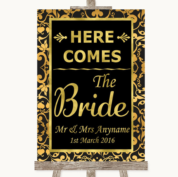 Black & Gold Damask Here Comes Bride Aisle Sign Personalised Wedding Sign