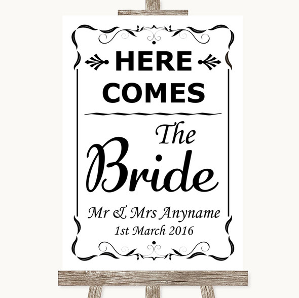 Black & White Here Comes Bride Aisle Sign Personalised Wedding Sign