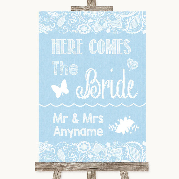 Blue Burlap & Lace Here Comes Bride Aisle Sign Personalised Wedding Sign