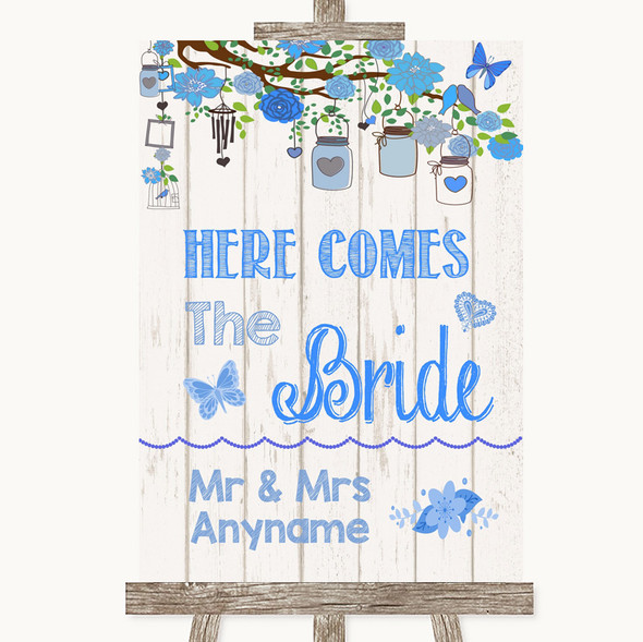 Blue Rustic Wood Here Comes Bride Aisle Sign Personalised Wedding Sign