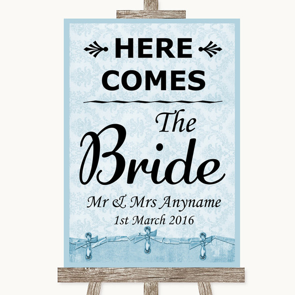 Blue Shabby Chic Here Comes Bride Aisle Sign Personalised Wedding Sign