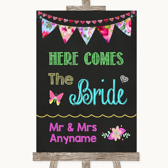Bright Bunting Chalk Here Comes Bride Aisle Sign Personalised Wedding Sign
