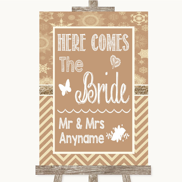 Brown Winter Here Comes Bride Aisle Sign Personalised Wedding Sign