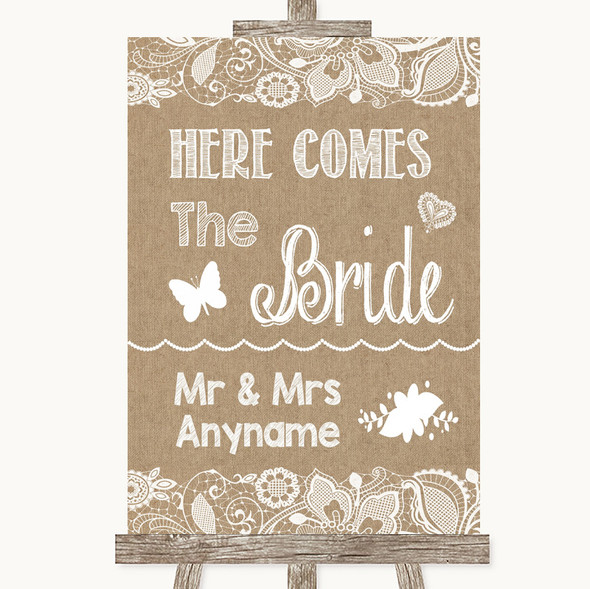 Burlap & Lace Here Comes Bride Aisle Sign Personalised Wedding Sign