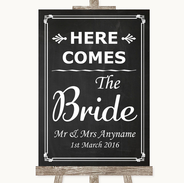 Chalk Style Here Comes Bride Aisle Sign Personalised Wedding Sign
