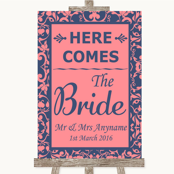 Coral Pink & Blue Here Comes Bride Aisle Sign Personalised Wedding Sign