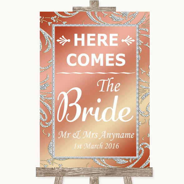 Coral Pink Here Comes Bride Aisle Sign Personalised Wedding Sign