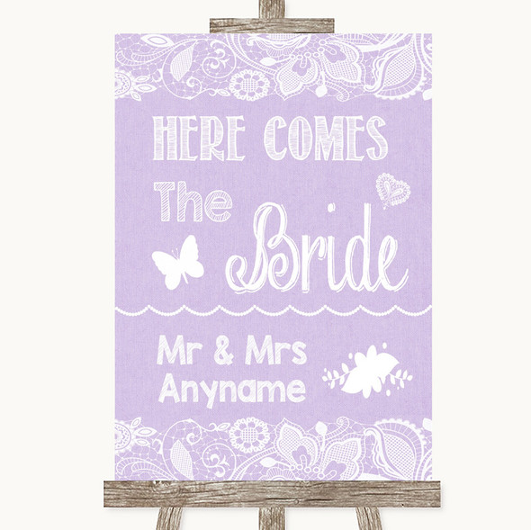 Lilac Burlap & Lace Here Comes Bride Aisle Sign Personalised Wedding Sign