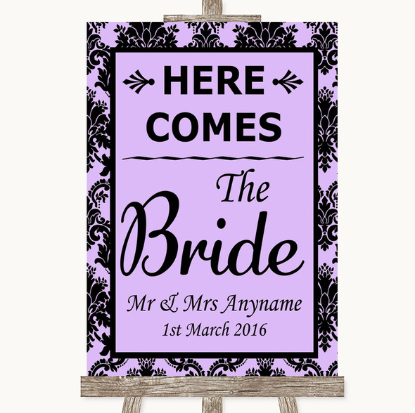 Lilac Damask Here Comes Bride Aisle Sign Personalised Wedding Sign