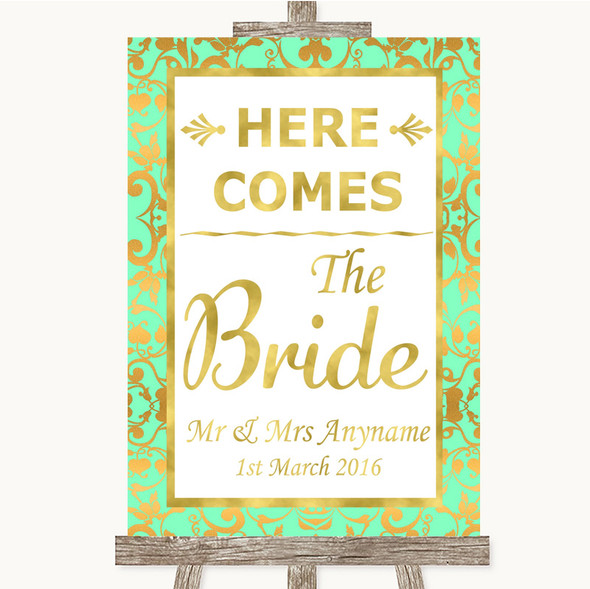 Mint Green & Gold Here Comes Bride Aisle Sign Personalised Wedding Sign