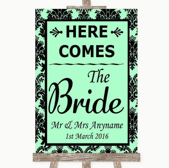 Mint Green Damask Here Comes Bride Aisle Sign Personalised Wedding Sign