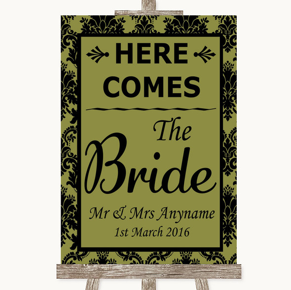 Olive Green Damask Here Comes Bride Aisle Sign Personalised Wedding Sign