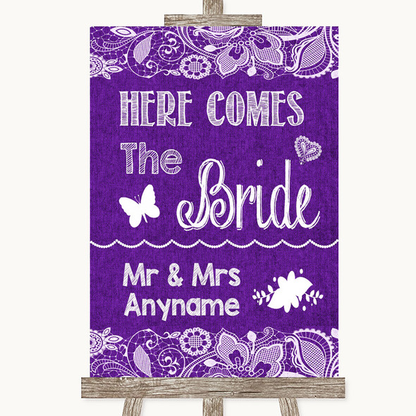 Purple Burlap & Lace Here Comes Bride Aisle Sign Personalised Wedding Sign