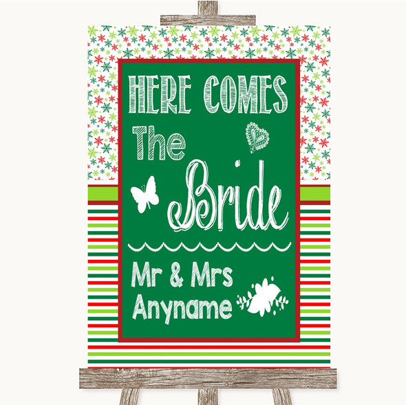 Red & Green Winter Here Comes Bride Aisle Sign Personalised Wedding Sign