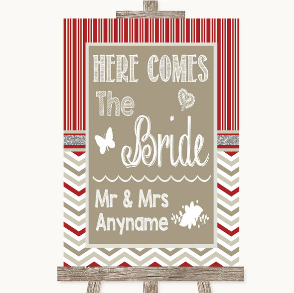 Red & Grey Winter Here Comes Bride Aisle Sign Personalised Wedding Sign