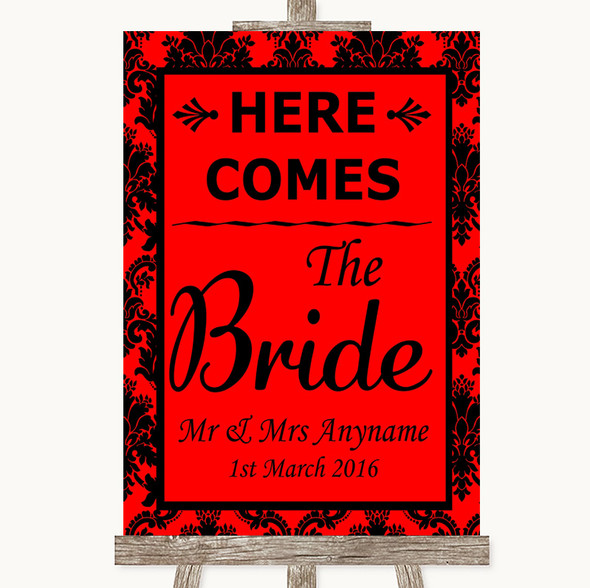 Red Damask Here Comes Bride Aisle Sign Personalised Wedding Sign