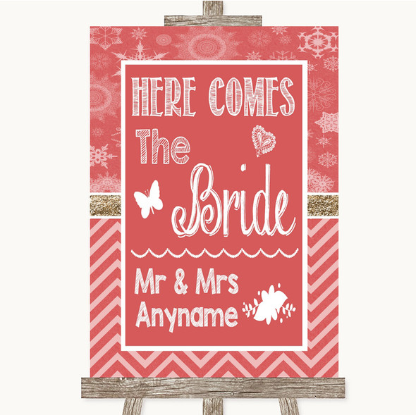 Red Winter Here Comes Bride Aisle Sign Personalised Wedding Sign
