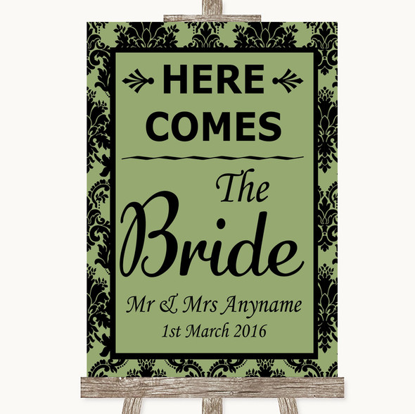 Sage Green Damask Here Comes Bride Aisle Sign Personalised Wedding Sign