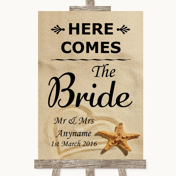Sandy Beach Here Comes Bride Aisle Sign Personalised Wedding Sign