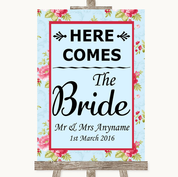 Shabby Chic Floral Here Comes Bride Aisle Sign Personalised Wedding Sign