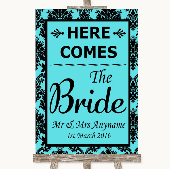 Tiffany Blue Damask Here Comes Bride Aisle Sign Personalised Wedding Sign